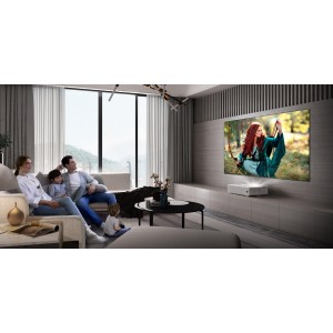 BENQ V6000 True 4K UHD Ultra Short Throw Laser Projector to Use In Living Room Intelligent Laser Lamp for 20000 hrs Lamp Life, 3000 Lumens Brightness 4K UHD (3840 x 2160) Resolution and Contrast Ratio 3000000:1, HDMI VGA and USB Reader Universal Connectiv